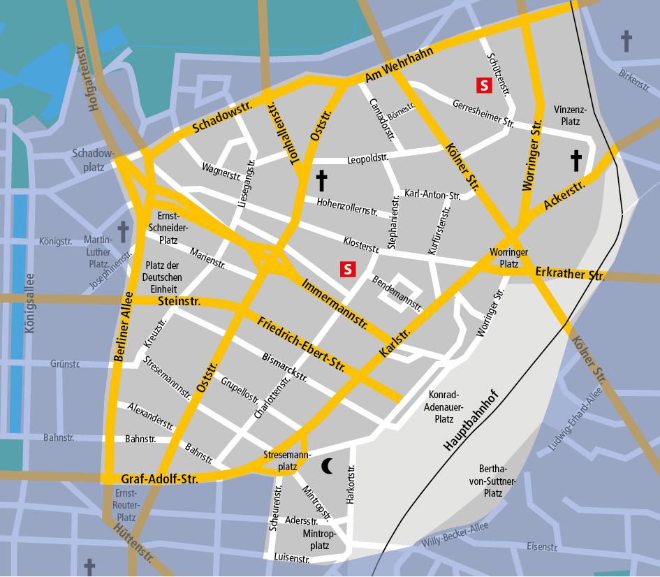 """Unser internationales Viertel """"D-Mitte"""" vom Hauptbahnhof bis zur Berliner Allee und vom Mintropplatz bis zum Wehrhahn ist mit 1,3 qkm sehr klein. Aber mit 15.000 Bewohnern und wochentags über 30.000 Beschäftigten und bis zu 5.000 Hotelgästen, also mindesten 40.000 Einwohner per qkm, ist es """"dichteste"""" Teil im Stadtbezirk."""